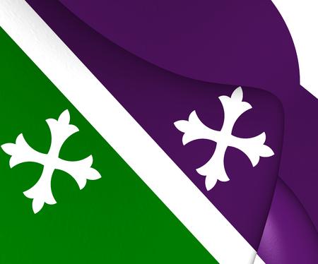 bandera de puerto rico: Bandera 3D de Adjuntas, Puerto Rico. Acercamiento.