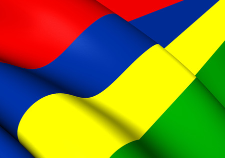 flutter: 3D Flag of the Mauritius. Close Up.