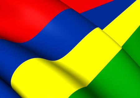 mauritius: 3D Flag of the Mauritius. Close Up.