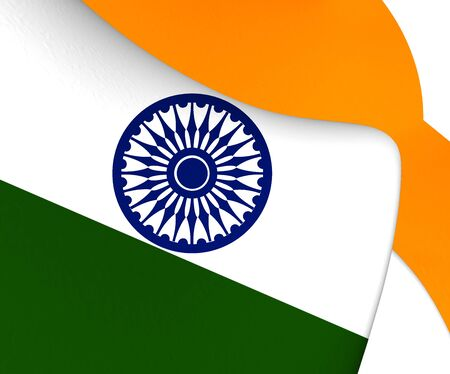 white flag: 3D Flag of the India. Close Up.