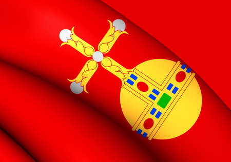 upsala: 3D Flag of the Uppsala, Sweden. Close Up.