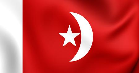 united arab emirate: 3D Flag of the Umm al-Quwain, UAE. Close Up.