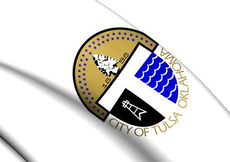 tulsa: 3D Flag of the Tulsa, USA. Close Up.