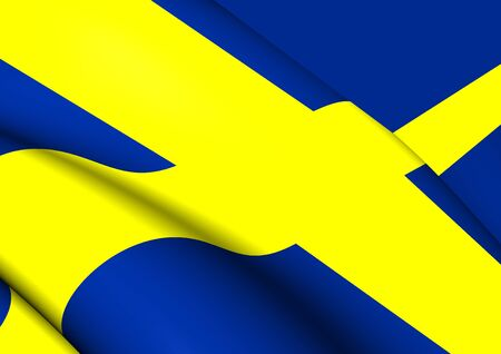 scandinavia: 3D Flag of the Sweden. Close Up.