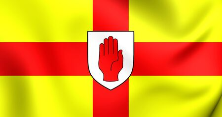 ulster: 3D Flag of the Ulster Province, Ireland. Close Up.