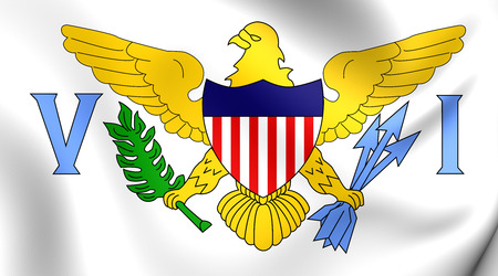 virgin islands: Virgin Islands of the United States 3D Flag. Close Up. Stock Photo
