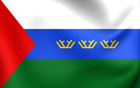oblast: 3D Flag of the Tyumen Oblast, Russia. Close Up.