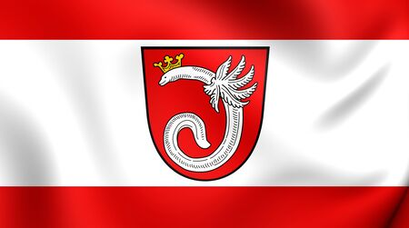 munster: 3D Flag of the Ahlen, Germany. Close Up.