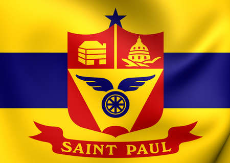 paul: 3D Flag of the Saint Paul, Minnesota, USA. Close Up.