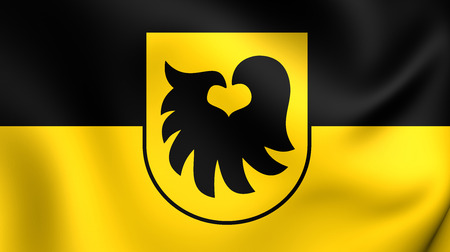 tirol: 3D Flag of the Aldrans, Austria. Close Up. Stock Photo