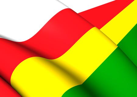municipality: 3D Flag of the Dantumadiel, Netherlands. Close Up.