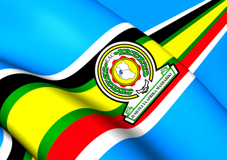 east: East African Community 3D Flag. Close Up. Stock Photo