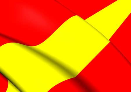 karlsruhe: 3D Flag of the Karlsruhe, Germany. Close Up.