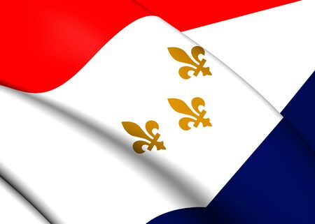 orleans: 3D Flag of the New Orleans, USA. Close Up.