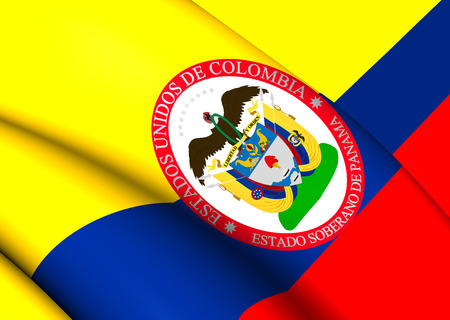 sovereign: Sovereign State of Panama, 1863-1886 (Colombia) Flag. Close Up.