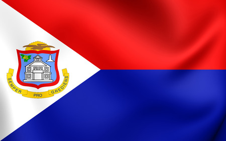 sint: 3D Flag of the Sint Maarten. Close Up.