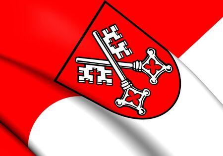 regensburg: 3D Flag of the Regensburg, Germany. Close Up.