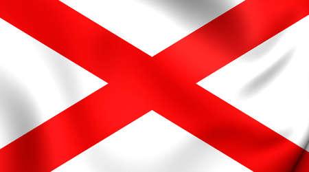 alabama: 3D Flag of the Alabama, USA. Close Up.