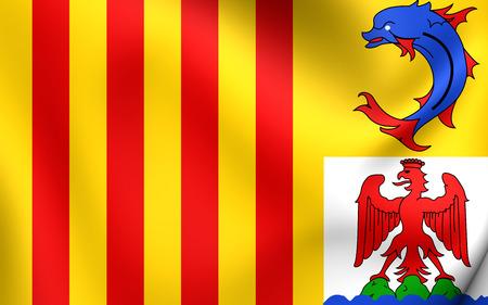 blason: 3D Flag of the Provence-Alpes-Cote dAzur, France. Close Up. Stock Photo