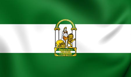 3D Vlag van Andalusië, Spanje. Detailopname.