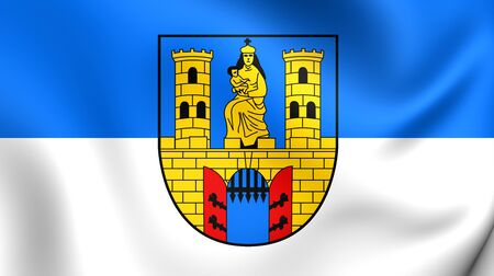 burg: 3D Flag of the Burg bei Magdeburg, Germany. Close Up.