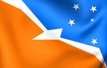 fuego: 3D Flag of the Tierra del Fuego, Argentina. Close Up. Stock Photo