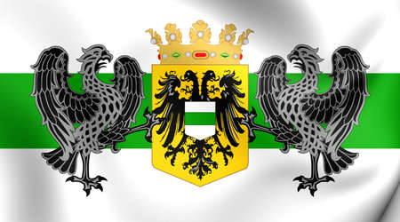 netherlandish: 3D Flag of the Groningen City, Netherlands. Close Up.