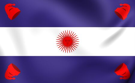 confederation: 3D Flag of the Argentine Confederation (1831-1861). Close Up.