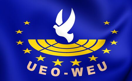 western european: Assembly of the Western European Union 3D Flag. Close Up.