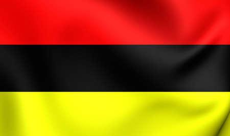 former: 3D Flag of the Brabantine Revolution. Close Up. Stock Photo