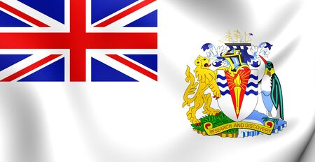 antarctic: 3D Flag of the British Antarctic Territory. Close Up. Stock Photo