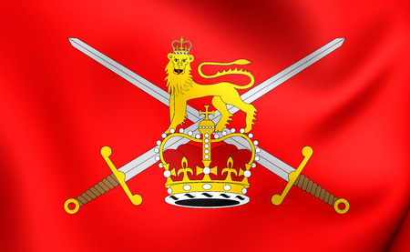 british army: 3D Flag of the British Army. Close Up.