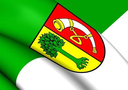 friedrichshafen: 3D Flag of the Friedrichshafen, Germany. Close Up.