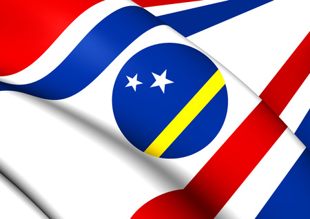 governor: Governor of Curacao 3D Flag. Close Up. Stock Photo