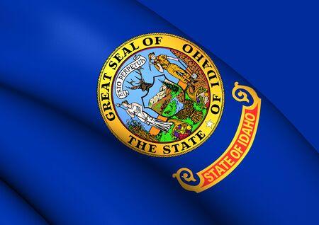 idaho: 3D Flag of the Idaho, USA. Close Up. Stock Photo