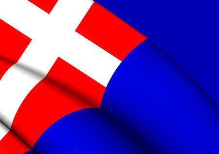 sardinia: Kingdom of Sardinia 3D Flag, Italy. Close Up.