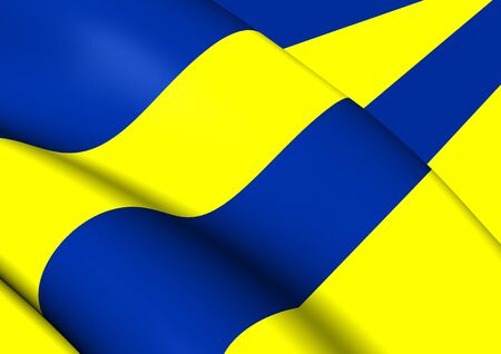 leeuwarden: 3D Flag of the Leeuwarden, Netherland. Close Up. Stock Photo