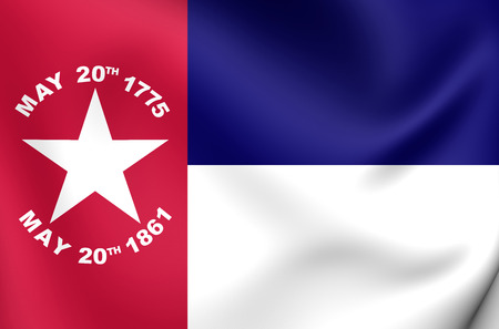 north carolina: 3D Flag of the North Carolina (1861), USA. Close Up. Stock Photo