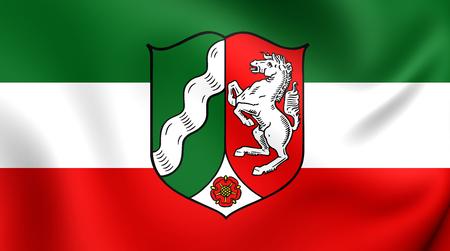 north rhine westphalia: 3D Flag of the North Rhine-Westphalia, Germany. Close Up.