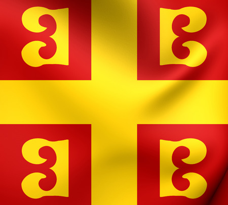 empire: 3D Flag of the Byzantine Empire. Close Up. Stock Photo