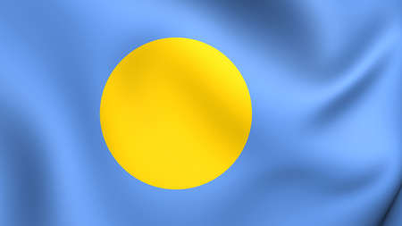 er: 3D Flag of the Palau. Close Up.