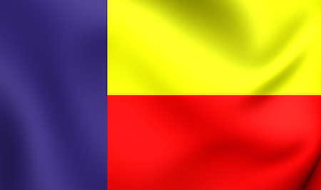 bandera de panama: Bandera 3D del Partido Paname�ista. Acercamiento.