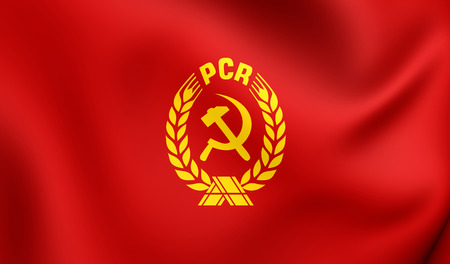 rumanian: 3D Flag of the Communist Party of Romania (PCR). Close Up.