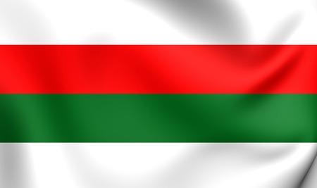 wielkopolskie: 3D Flag of the Pila, Poland. Close Up.