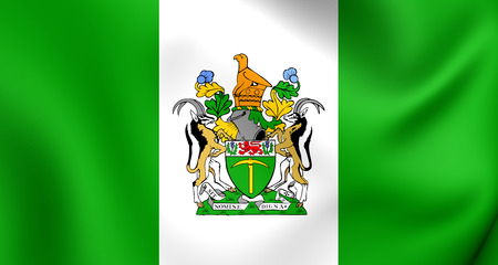 3D Flag of the Rhodesia. Close Up.