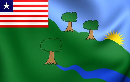 gee: 3D Flag of the River Gee County, Liberia. Close Up.