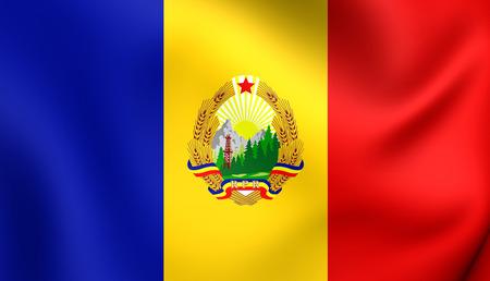rumanian: 3D Flag of the Romania (1952-1965). Close Up.