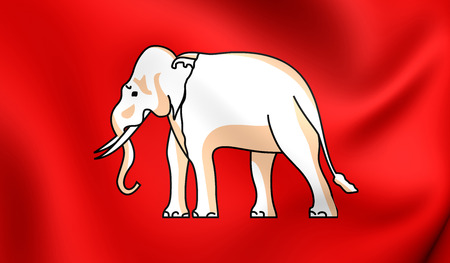 king thailand: 3D Flag of the Thailand (1855). The White Elephant Flag. Close Up.