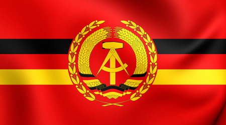 ensign: 3D Naval Ensign of the German Democratic Republic (1960-1990). Close Up. Stock Photo