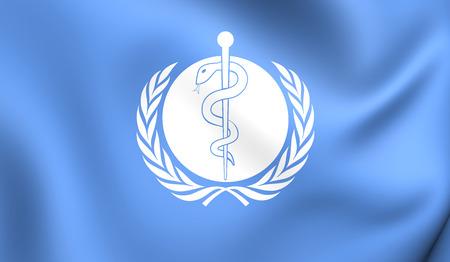Bandera 3D de la Organización Mundial de la Salud. Acercamiento. Foto de archivo